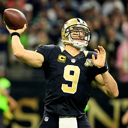 Oct 30, 2016; New Orleans, LA, USA; New Orleans Saints quarterback Drew Brees (9) against the Seattle Seahawks during the first quarter of a game at the Mercedes-Benz Superdome. Mandatory Credit: Derick E. Hingle-USA TODAY Sports