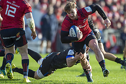 December 9, 2018 - Limerick, Ireland - Chris Cloete of Munster with the ball tackled by Scott Spedding of Castres during the Heineken Champions Cup Round 3 match between Munster Rugby and Castres Qlympique at Thomond Park Stadium in Limerick, Ireland on December 9, 2018  (Credit Image: © Andrew Surma/NurPhoto via ZUMA Press)
