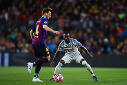 May 1, 2019 - Barcelona, Catalonia, Spain - May 1, 2019 - Barcelona, Spain - Uefa Champions League 1/2 of final second leg, FC Barcelona v Liverpool FC: Ivan Rakitic of FC Barcelona challenges for the ball against  Sadio Mane of Liverpool FC. (Credit Image: © Marc Dominguez/ZUMA Wire)