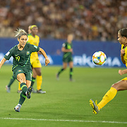 GRENOBLE, FRANCE June 18. Katrina Gorry #19 of Australia defended by Toriana Patterson #19 of Jamaica during the Jamaica V Australia, Group C match at the FIFA Women's World Cup at Stade des Alpes on June 18th 2019 in Grenoble, France. (Photo by Tim Clayton/Corbis via Getty Images)