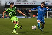 Forest Green Rovers Liam Shephard(2) crosses the ball during the The FA Cup match between Forest Green Rovers and Carlisle United at the New Lawn, Forest Green, United Kingdom on 30 November 2019.