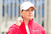 Caroline Masson puts waterproofs on as rain starts during the Aberdeen Standard Investments Ladies Scottish Open 2018 at Gullane Golf Club, Gullane, Scotland on 28 July 2018. Picture by Kevin Murray.