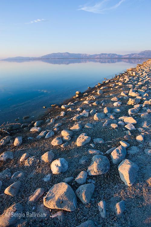 Sunset on the rocky coast of the Great Salt Lake near Salt Lake City, UT