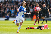 Bristol Rovers Matt Taylor celebrates scoring his teams 3rd goal during the Sky Bet League 2 match between Bristol Rovers and Exeter City at the Memorial Stadium, Bristol, England on 23 April 2016. Photo by Shane Healey.