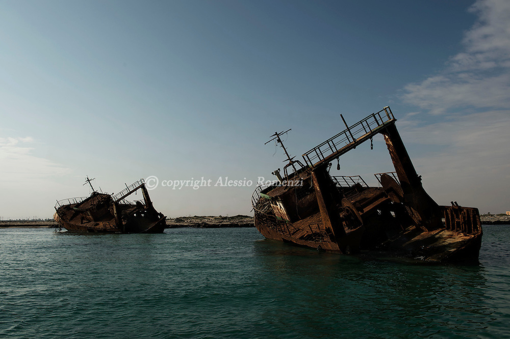 Libya, Zuwara: Abandoned ships on the shore of Zuwara. Alessio Romenzi