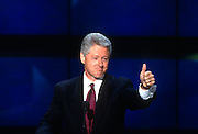 U.S President Bill Clinton gives the thumbs up to supporters as he accepts the nomination for the democrat party at the 1996 Democratic National Convention August 29, 1996 in Chicago, IL.