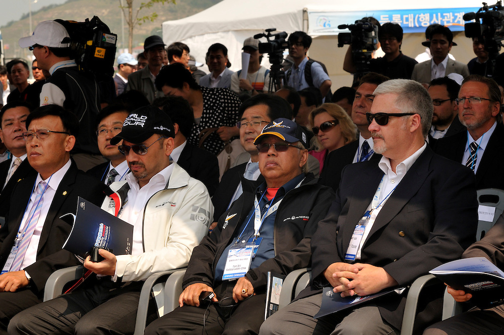 WMRT Executive Chairman, Patrick Lim, Tan Sri, Chairman Tbest Events (Monsoon Cup) and Jim O'Toole WMRT CEO at the opening of the Korea International Boat Show. Photo:Chris Davies/WMRT