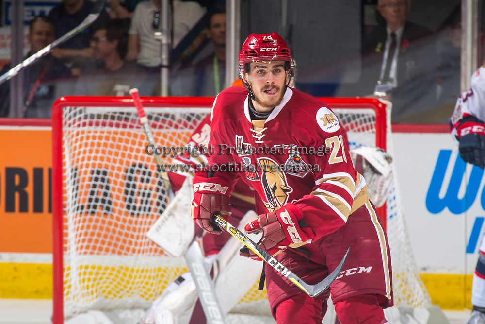 REGINA, SK - MAY 27: Samuel Asselin #28 of Acadie-Bathurst Titan skates against the Regina Pats at the Brandt Centre on May 27, 2018 in Regina, Canada. (Photo by Marissa Baecker/CHL Images)