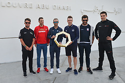 February 23, 2019 - Abu Dhabi, United Arab Emirates - (Left-Right) Mark Cavendish of Great Britain and Team Dimension Data, Vincenzo Nibali of Italy and Team Bahrain-Merida, Alejandro Valverde Belmonte of Spain and Movistar Team, Elia Viviani of Italy and Team Deceuninck-QuickStep, Fernando Gaviria of Colombia and UAE Team Emirates, Tom Dumoulin of The Netherlands and Team Sunweb, attend Top Riders Photo session at the entrance to the Louvre Abu Dhabi Museum..On Saturday, February 23, 2019, Abu Dhabi, United Arab Emirates...Mark Cavendish, Vincenzo Nibali, Alejandro Valverde, Elia Viviani, Fernando Gaviria, Tom Dumoulin  (Credit Image: © Artur Widak/NurPhoto via ZUMA Press)