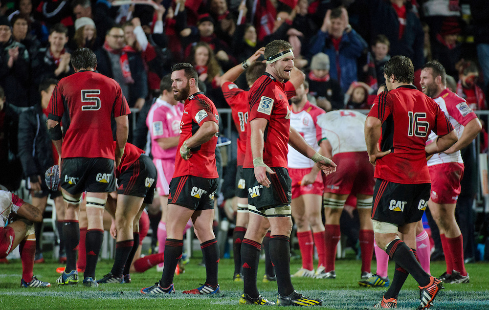 Crusaders celebrate victory over the Reds in the Super Rugby qualifier match at AMI Stadium, Christchurch, New Zealand, Saturday, July 20, 2013. Credit:SNPA / David Alexander