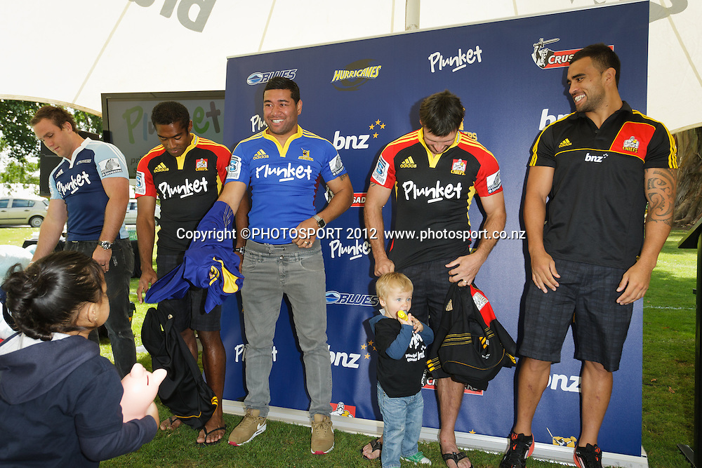 James Parsons (Blues), Asaeli Tikoirotuma (Chiefs), Siale Piutau (Highlanders), Scott Waldrom and Liam Messam (Chiefs) unveil the jerseys at jersey sponsorship swap, where BNZ's key sponsorship logo placement on jerseys will be replaced by the charity Plunket at two Super Rugby franchise games this weekend. Pictured at the Chiefs' base, Ruakura Campus, Innovation Park, Hamilton, New Zealand, Thursday 1 March 2012. Photo: Stephen Barker/PHOTOSPORT