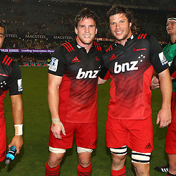 DURBAN, SOUTH AFRICA - MARCH 26: Richie Mo'unga of the BNZ Crusaders with Matt Todd Tim Boys and Ryan Crotty of the BNZ Crusaders during the Super Rugby match between Cell C Sharks and BNZ Crusaders at Growthpoint Kings Park on March 26, 2016 in Durban, South Africa. (Photo by Steve Haag)<br /> <br /> images for social media must have consent from Steve Haag