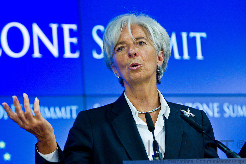 Managing Director of the IMF Christine Lagarde speaks during a media conference after the EU summit of eurogroup members at the EU Council building in Brussels on Thursday, July 21, 2011. PHOTO: ERIK LUNTANG / INSPIRIT Photo.