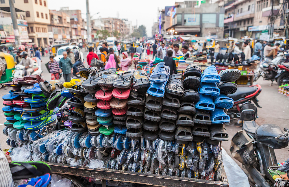 A cart full of sandals and flip flops in Sardar Market, Jodhpur, Rajasthan, India.