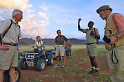 "CC Africa Afro Ventures' luxurious ""Andersson's Africa"" Safari. Sunrise excursion with ATVs (All Terrain Vehicles) to the dunes south of CC Africa's Sossusvlei Mountain Lodge."