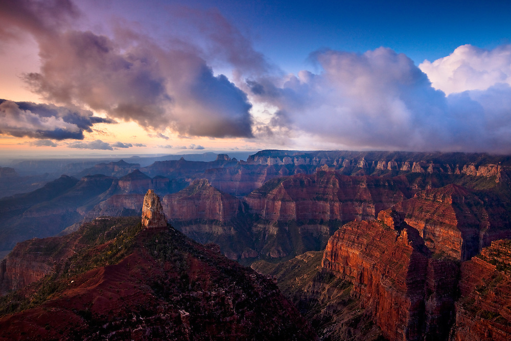 Sunrise on Mt. Hayden. North Rim of Grand Canyon National Park.