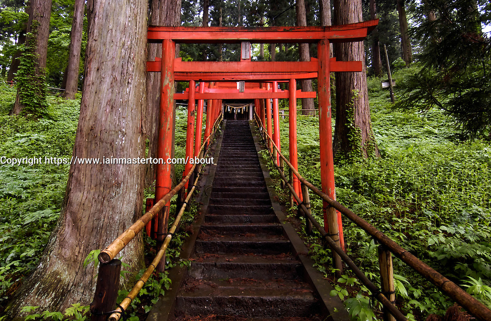 Red Tori gates at entrance to Chusonji Shrine at Hiraizumi in Japan