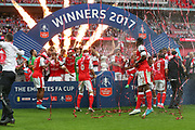 Arsenal win the FA Cup during the The FA Cup final match between Arsenal and Chelsea at Wembley Stadium, London, England on 27 May 2017. Photo by Shane Healey.