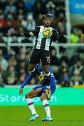 Allan Saint-Maximin (#10) of Newcastle United leaps to control the ball on his chest during the Premier League match between Newcastle United and Chelsea at St. James's Park, Newcastle, England on 18 January 2020.