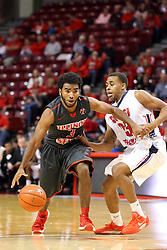 08 November 2015: Keyshawn Evans(3) crosses the 3 point line with defender Travis Britt(23). Illinois State Redbirds host the Southern Indiana Screaming Eagles and beat them 88-81 in an exhibition game at Redbird Arena in Normal Illinois (Photo by Alan Look)