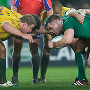 The Scrum packs down during the Australia V Ireland Pool C match during the IRB Rugby World Cup tournament. Eden Park, Auckland, New Zealand, 17th September 2011. Photo Tim Clayton...