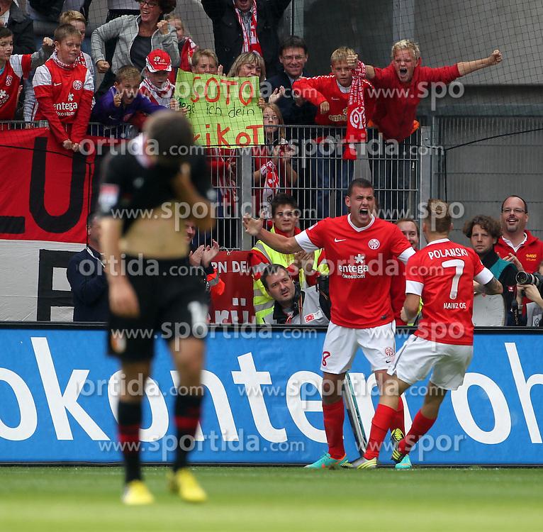 22.09.2012, Coface Arena, Mainz, GER, 1. FBL, 1. FSV Mainz 05 vs FC Augsburg, 4. Runde, im Bild der Mainzer Adam Szalai (r) jubelt nach seinem Treffer zum 2:0 // during the German Bundesliga 4th round match between 1. FSV Mainz 05 and FC Augsburg at the Coface Arena, Mainz, Germany on 2012/09/22. EXPA Pictures © 2012, PhotoCredit: EXPA/ Eibner/ Frey..***** ATTENTION - OUT OF GER *****