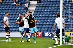 Burnley's Sam Vokes celebrates after scoring his sides second goal  - Mandatory by-line: Matt McNulty/JMP - 25/07/2017 - FOOTBALL - Deepdale Stadium - Preston, England - Preston North End v Burnley - Pre-Season friendly