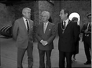 10/09/1988<br /> 09/10/1988<br /> 10 September 1988<br /> ROSC 1988 Exhibition at the Guinness Hop Store. <br /> Sir Norman Mcfarlane visits ROSC '88. Sir Norman Macfarlane, Chairman of Guinness plc; Mr Pat Murphy, Chairman of ROSC and Alderman Ben Briscoe, T.D. (right) Lord Mayor of Dublin.
