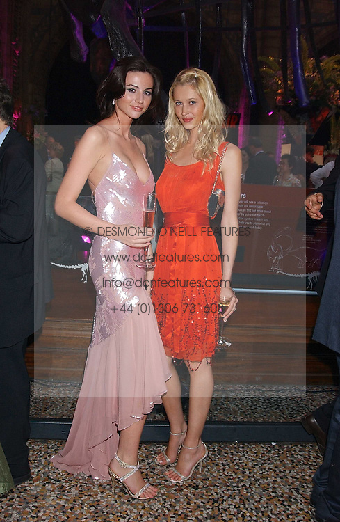 Left to right, Models MARIE DONOHUE a friend of Flavio Briatore and LANDI SWANEPOEL at the opening party for Diamonds - a new exhibition at The Natural History Museum, London in association with De Beers held on 6th July 2005.<br />