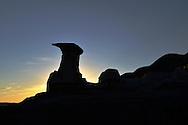 Geological formations known as 'hoodoos'; the result of erosion. Drumheller, Alberta, Canada.