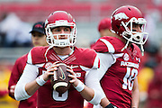 FAYETTEVILLE, AR - OCTOBER 31:  Brothers Austin Allen #8 and Brandon Allen #10 of the Arkansas Razorbacks warm up before a game against the UT Martin Skyhawks at Razorback Stadium on October 31, 2015 in Fayetteville, Arkansas.  The Razorbacks defeated the Skyhawks 63-28.  (Photo by Wesley Hitt/Getty Images) *** Local Caption *** Austin Allen; Brandon Allen
