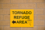 Tornado Refuge Area sign, Kansas KS USA