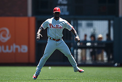 SAN FRANCISCO, CA - JUNE 26: Odubel Herrera #37 of the Philadelphia Phillies warms up before the game against the San Francisco Giants at AT&T Park on June 26, 2016 in San Francisco, California. The San Francisco Giants defeated the Philadelphia Phillies 8-7. (Photo by Jason O. Watson/Getty Images) *** Local Caption *** Odubel Herrera