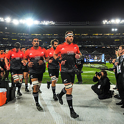 Kieran Read leads the All Blacks back in before the 2017 DHL Lions Series rugby union 3rd test match between the NZ All Blacks and British & Irish Lions at Eden Park in Auckland, New Zealand on Saturday, 8 July 2017. Photo: Dave Lintott / lintottphoto.co.nz