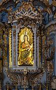 Ornately decorated statue of Blessed Virgin Mary 17th century church of Igreja de Santiago, Tavira, Algarve, Portugal, Southern Europe