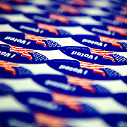"""""""I Voted"""" stickers at a polling station in Barrio Logan."""