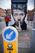 BOWIE Street art in Manchester's Northern Quarter, Stevensons Square