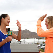 Ana Ivanovic and Caroline Wozniacki take part in the WTA All-Access Hour at the Indian Wells Tennis Garden in Indian Wells, California Tuesday, March 11, 2015.<br /> (Photo by Billie Weiss/BNP Paribas Open)