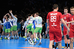Slovenian team celebrate after the victory during 25th IHF men's world championship 2017 match between Russia and Slovenia at Accord hotel Arena on january 21 2017 in Paris. France. PHOTO: CHRISTOPHE SAIDI / SIPA / Sportida