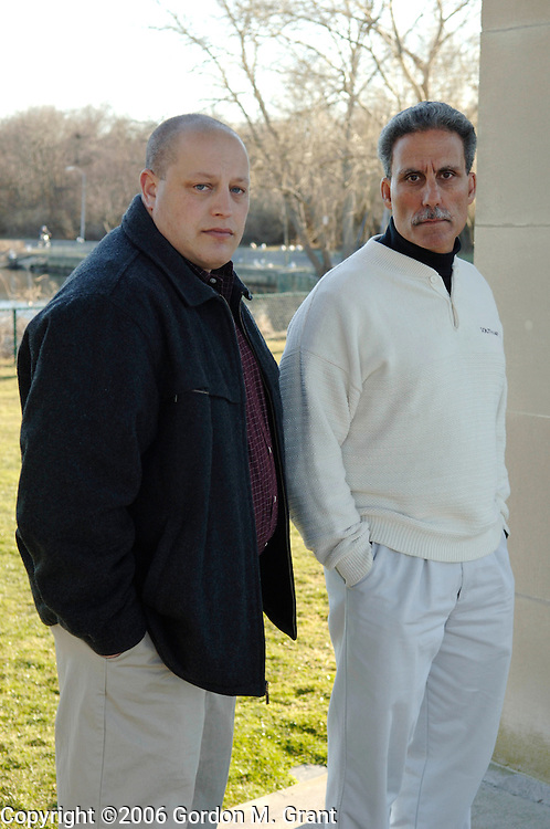 Southampton, NY - 3/23/06 -   (l-r) Coaches Michael Zimbler and Vincent Mangano, who are involved in a reverse discrimination suit with Southampton School District, in Southampton, NY March 23, 2006.     (Photo by Gordon M. Grant)