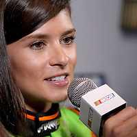 Driver Danica Patrick speaks with the media during the NASCAR Media Day event at Daytona International Speedway on Thursday, February 14, 2013 in Daytona Beach, Florida.  (AP Photo/Alex Menendez)