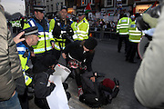 London 04/01/09: Protests outside the Israeli Embassy in London UK: Minor skirmishes occurred, though there were no reported arrests