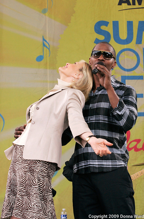 Diane Sawyer and Jamie Foxx appear on stage during ABC's 'Good Morning America' concert series at Central Park's Rumsey Playfield in New York City, USA on June 19, 2009.