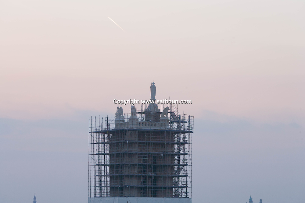 France. Paris. elevated view. Saint Jacques tower under reconstruction.     view drom the hotel de ville roofs  Paris