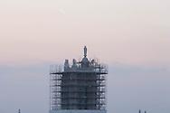 France. Paris. elevated view. Saint Jacques tower under reconstruction.     view drom the hotel de ville roofs  Paris