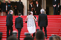 Luc Dardenne, actors Fabrizio Rongione, Marion Cotillard,   Jean-Pierre Dardenne and Thierry Fremaux at the Two Days, One Night (Deux Jours, Une Nuit) gala screening red carpet at the 67th Cannes Film Festival France. Tuesday 20th May 2014 in Cannes Film Festival, France.