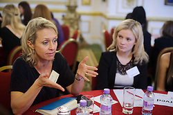 © Licensed to London News Pictures. 17/10/2013 London, UK. Mumsnet Carrie Longton at a speed networking event  at Lancaster House, London for 100 girls from state secondary schools to launch a national campaign, which will see 15,000 women going into secondary schools to speak to pupils about career choices. Participants also include Miriam Gonzalez Durantez, wife of Deputy Prime Minister Nick Clegg. Photo credit : Simon Jacobs/LNP