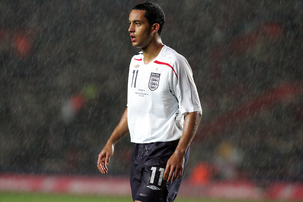 Theo Walcott is lost in the rain. England v Republic of Ireland, Uefa Under-21 Championship Qualifier, Tuesday 5th February 2008, St Marys, Southampton.