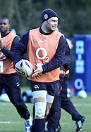 10 Feb 2010 Pennyhill Park, Bagshot, UK: Nick Easter warms up during the England rugby team training camp prior to the match against Italy. (Photo © Andrew Tobin www.slikimages.com)