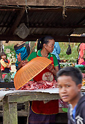 Laos, Luang Prabang Province. The market at Phou Khoun. Meat.